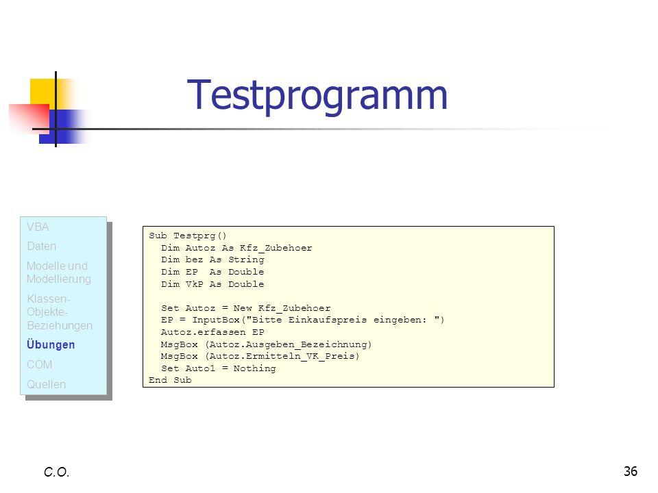 Testprogramm C.O. VBA Daten Modelle und Modellierung