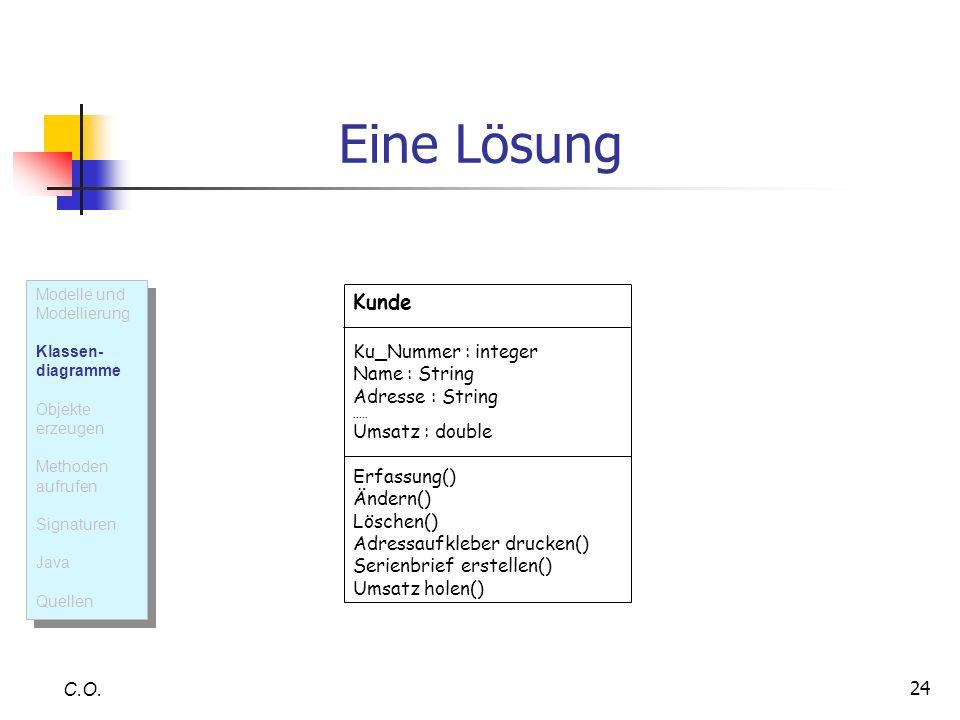 Eine Lösung Kunde Ku_Nummer : integer Name : String Adresse : String