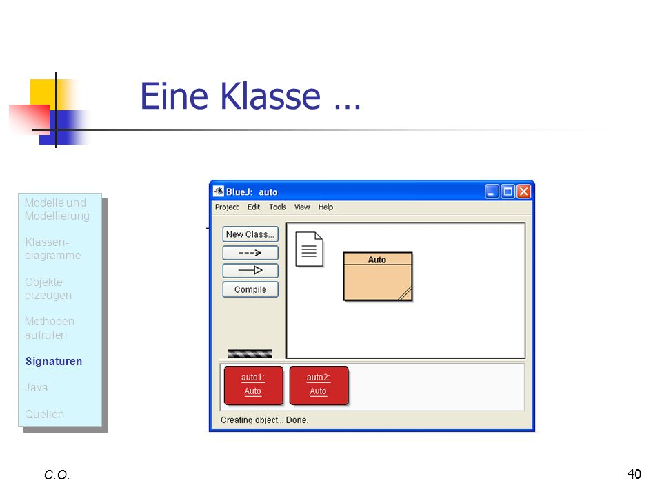 Eine Klasse … C.O. Modelle und Modellierung Klassen- diagramme