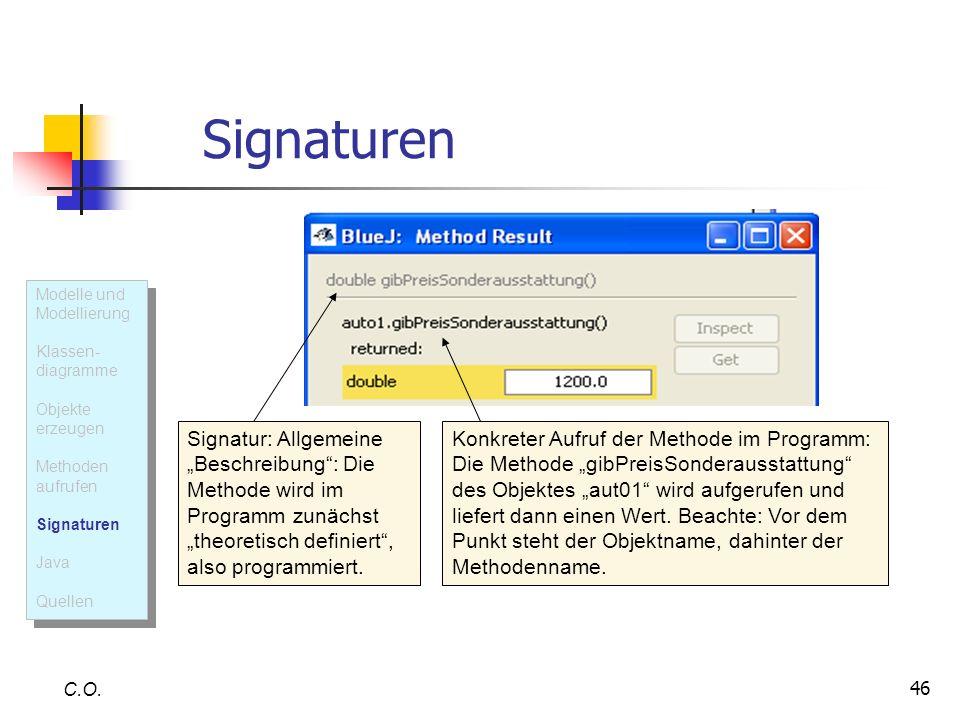 Signaturen Modelle und Modellierung. Klassen- diagramme. Objekte erzeugen. Methoden aufrufen. Signaturen.