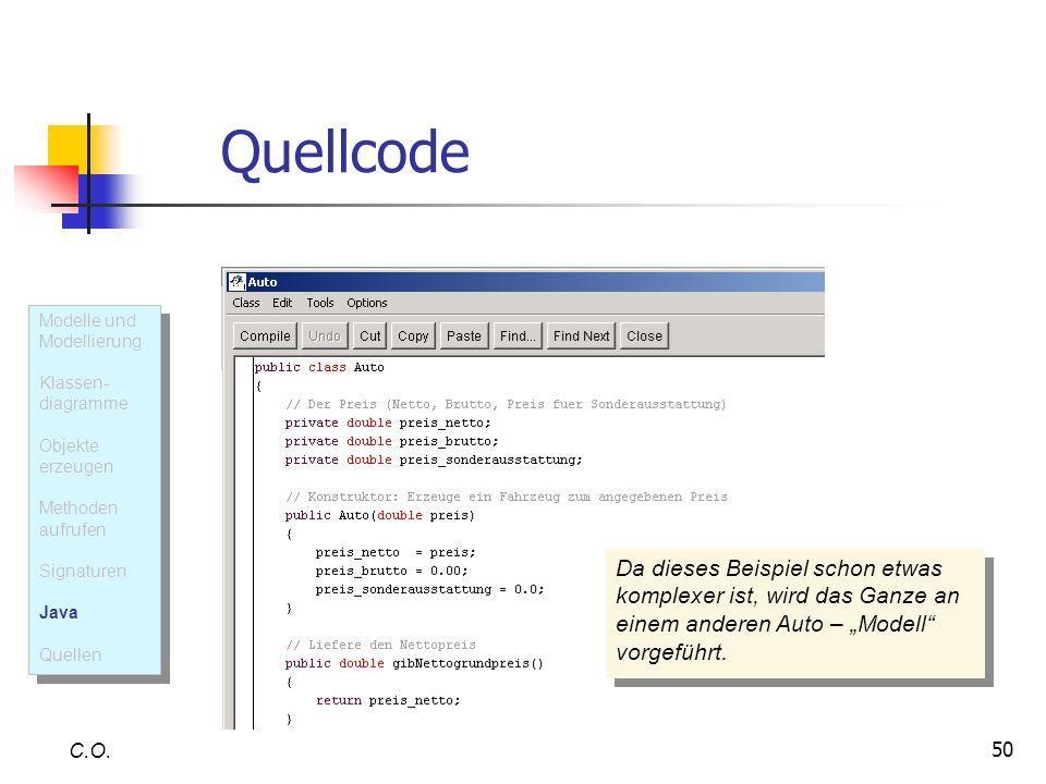 QuellcodeModelle und Modellierung. Klassen- diagramme. Objekte erzeugen. Methoden aufrufen. Signaturen.