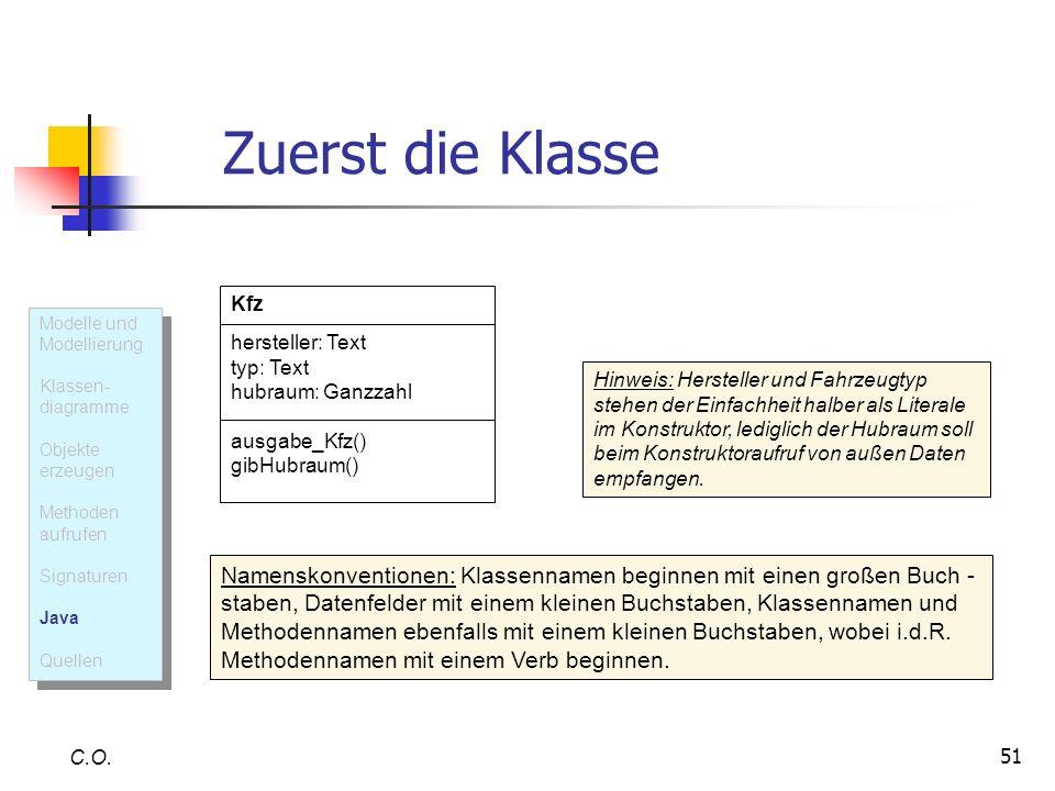 Zuerst die KlasseKfz. hersteller: Text. typ: Text. hubraum: Ganzzahl. ausgabe_Kfz() gibHubraum() Modelle und Modellierung.