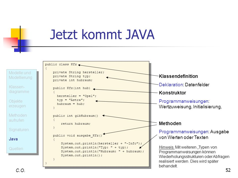 Jetzt kommt JAVA Klassendefinition Deklaration: Datenfelder