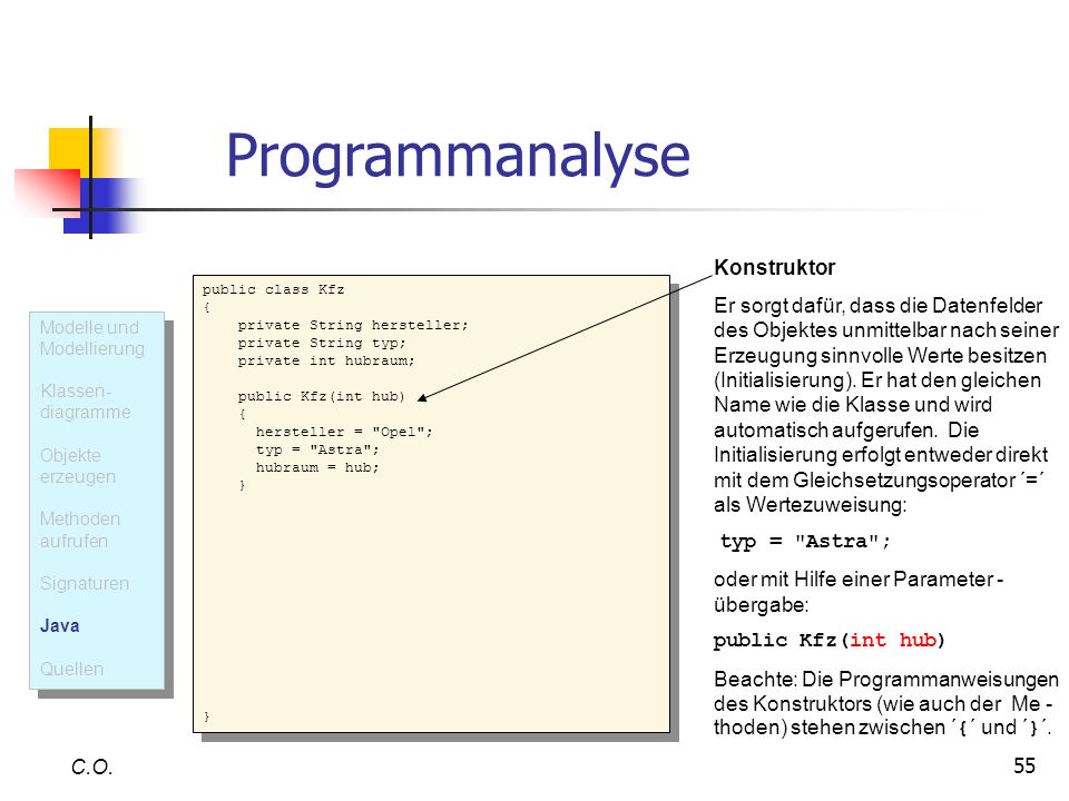Programmanalyse Konstruktor