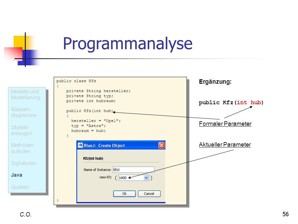 Programmanalyse Ergänzung: public Kfz(int hub) Formaler Parameter