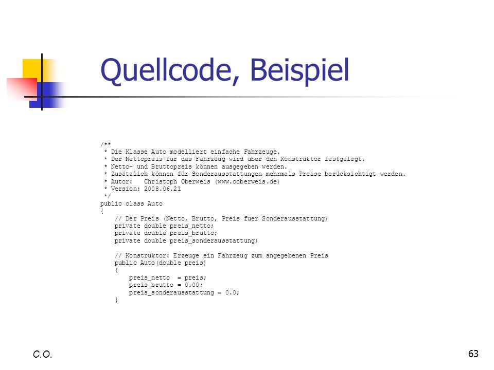 Quellcode, Beispiel C.O. /**
