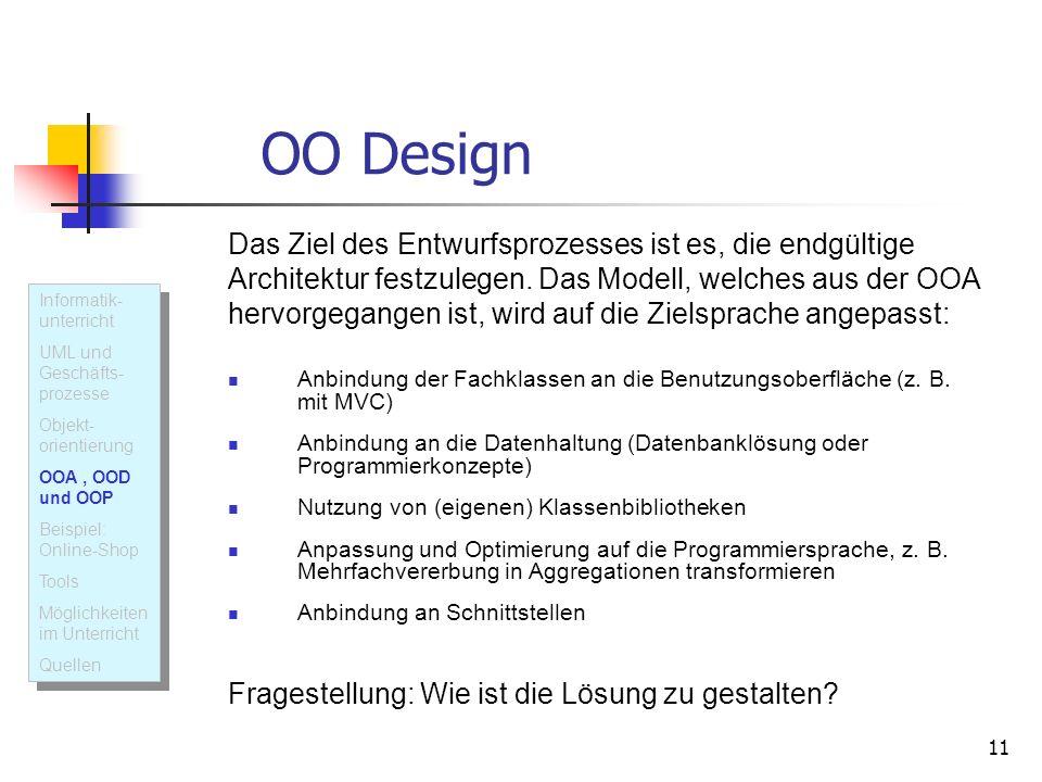 OO Design Das Ziel des Entwurfsprozesses ist es, die endgültige