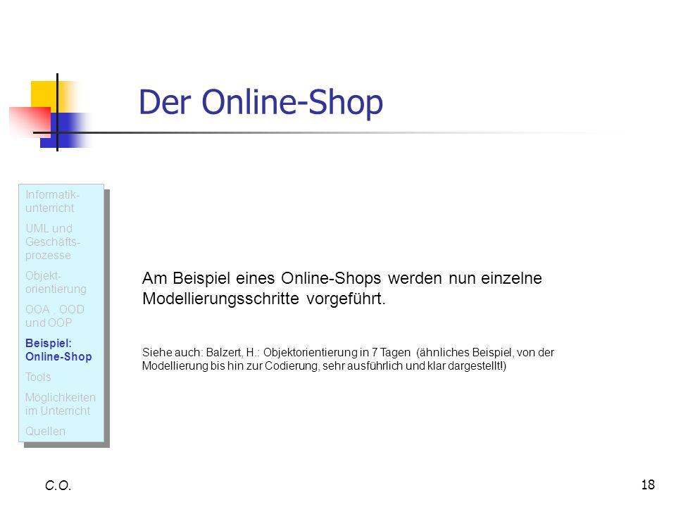 Der Online-Shop Informatik- unterricht. UML und Geschäfts-prozesse. Objekt-orientierung. OOA , OOD und OOP.