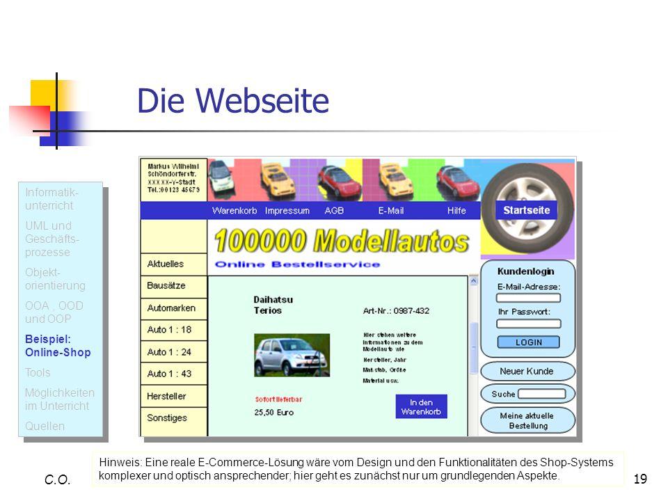 Die Webseite C.O. Informatik- unterricht UML und Geschäfts-prozesse