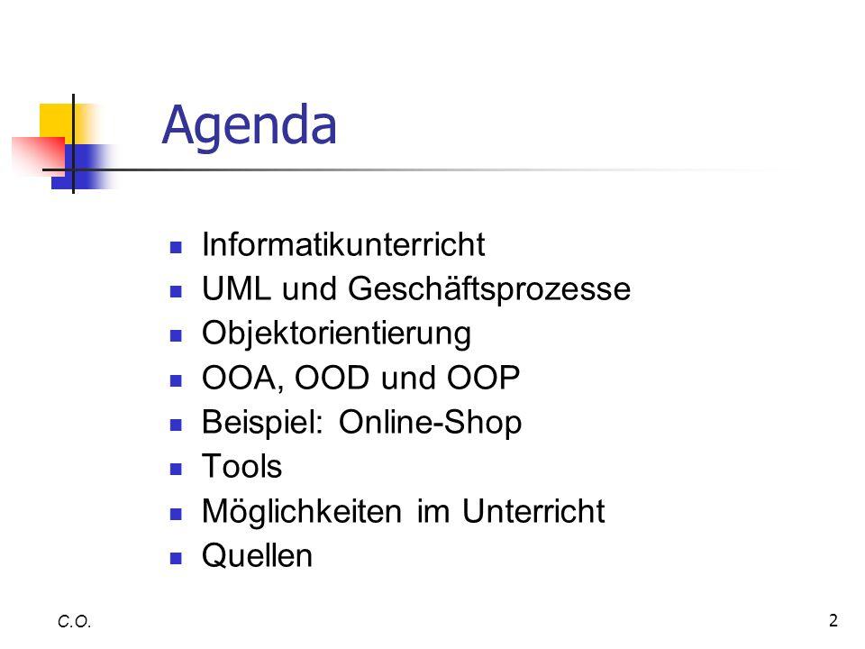 Agenda Informatikunterricht UML und Geschäftsprozesse