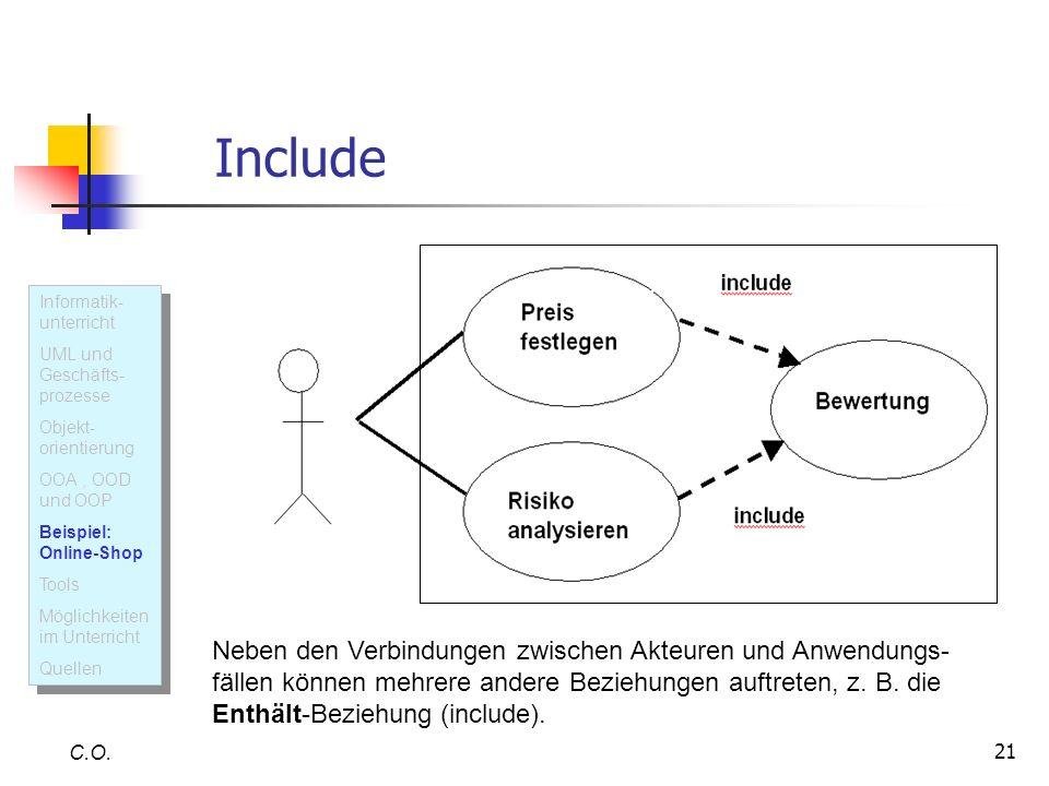 Include Informatik- unterricht. UML und Geschäfts-prozesse. Objekt-orientierung. OOA , OOD und OOP.