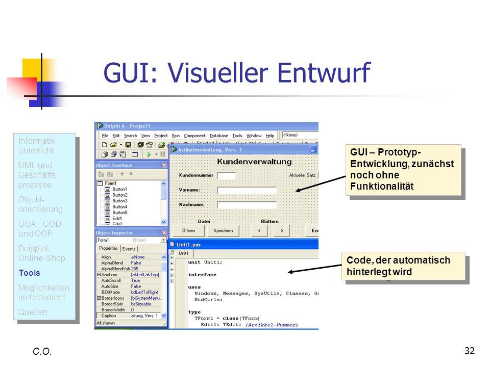 GUI: Visueller Entwurf