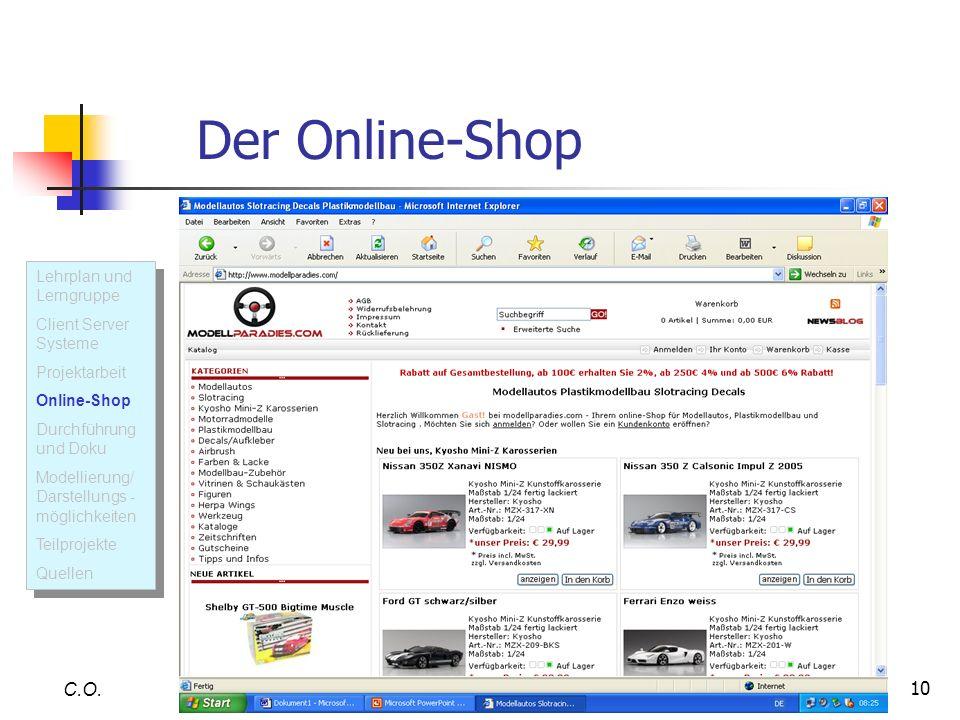 Der Online-Shop C.O. Lehrplan und Lerngruppe Client Server Systeme
