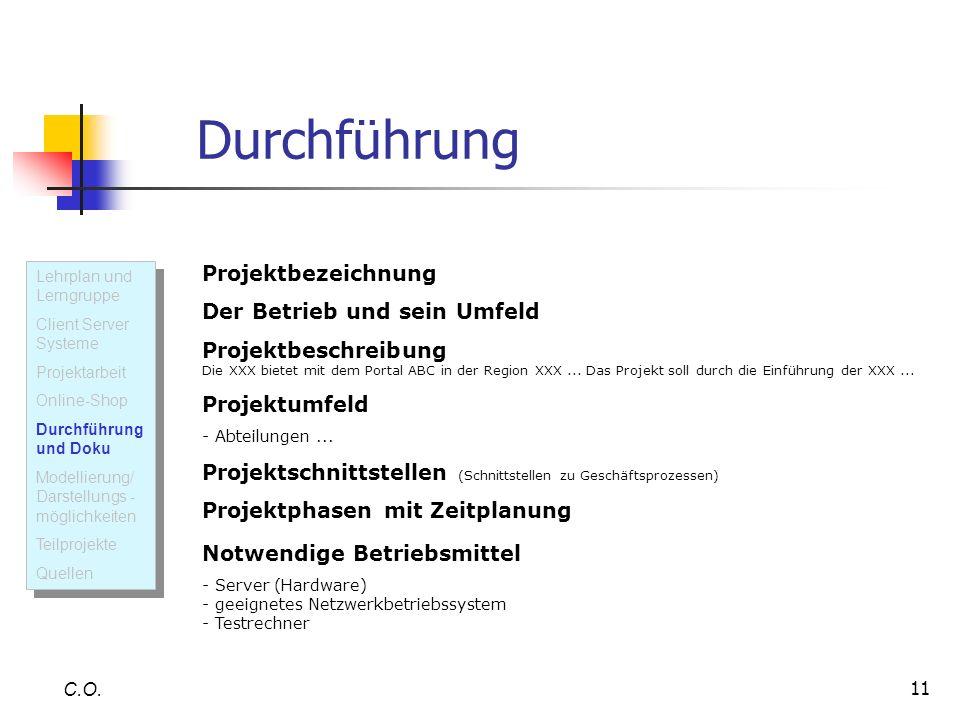 Durchführung Projektbezeichnung Der Betrieb und sein Umfeld