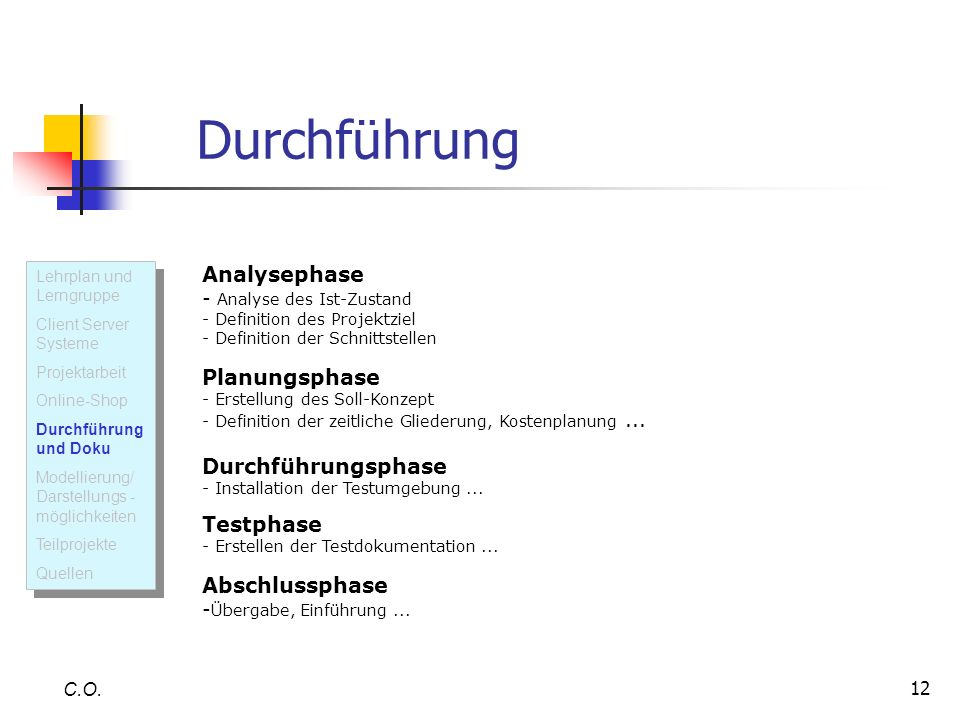 Durchführung Lehrplan und Lerngruppe. Client Server Systeme. Projektarbeit. Online-Shop. Durchführung und Doku.