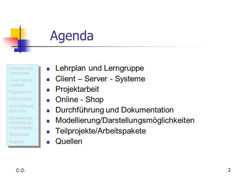 Agenda Lehrplan und Lerngruppe Client – Server - Systeme Projektarbeit