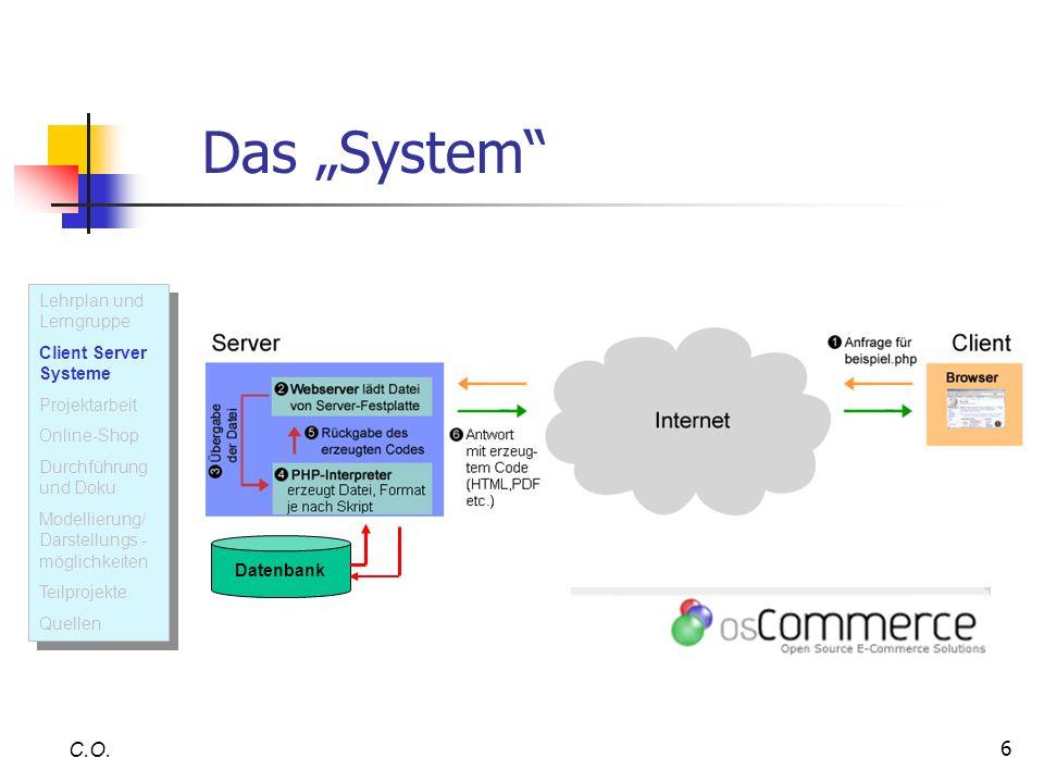 """Das """"System C.O. Lehrplan und Lerngruppe Client Server Systeme"""