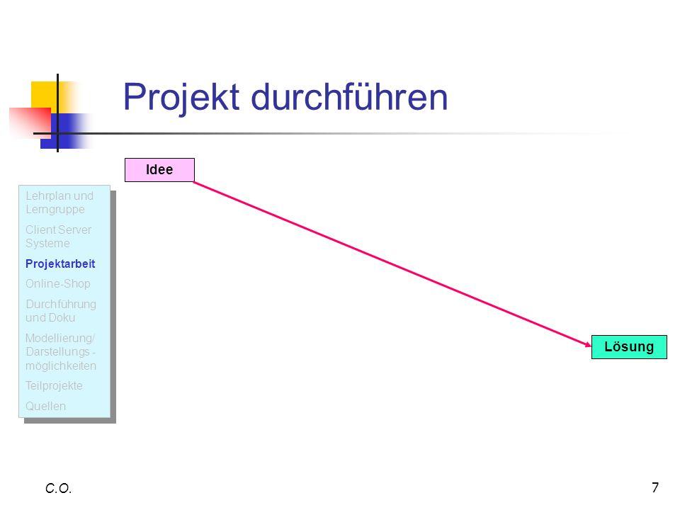 Projekt durchführen Idee Lösung C.O. Lehrplan und Lerngruppe