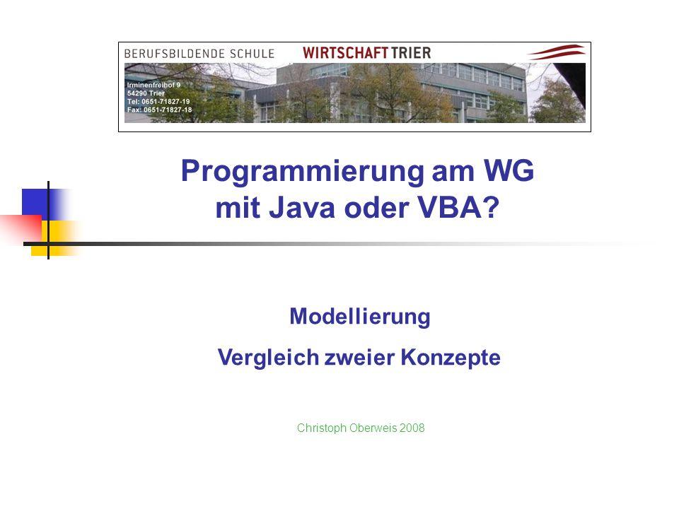 Programmierung am WG mit Java oder VBA