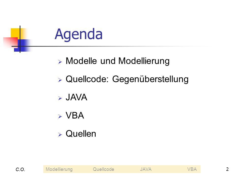 Agenda Modelle und Modellierung Quellcode: Gegenüberstellung JAVA VBA
