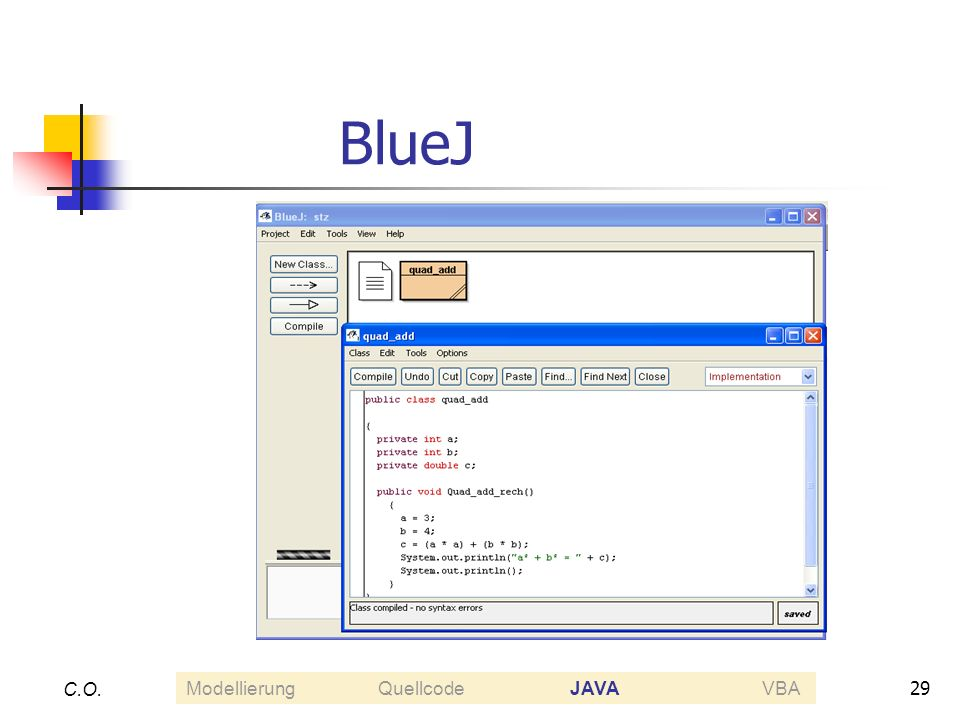 BlueJ C.O. Modellierung Quellcode JAVA VBA
