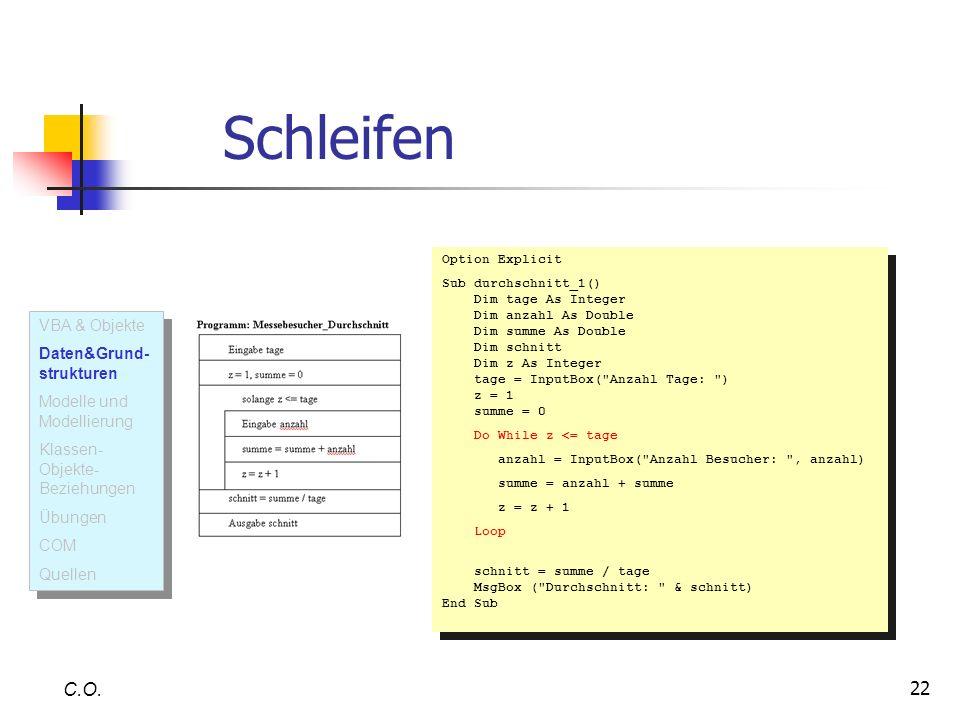 Schleifen C.O. VBA & Objekte Daten&Grund-strukturen