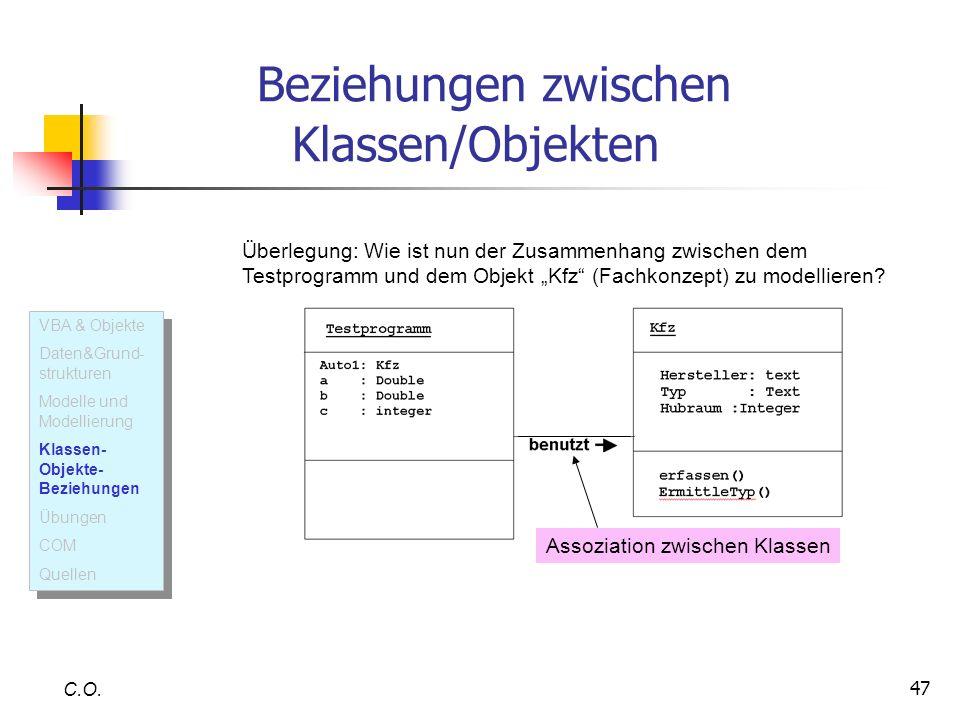 Beziehungen zwischen Klassen/Objekten