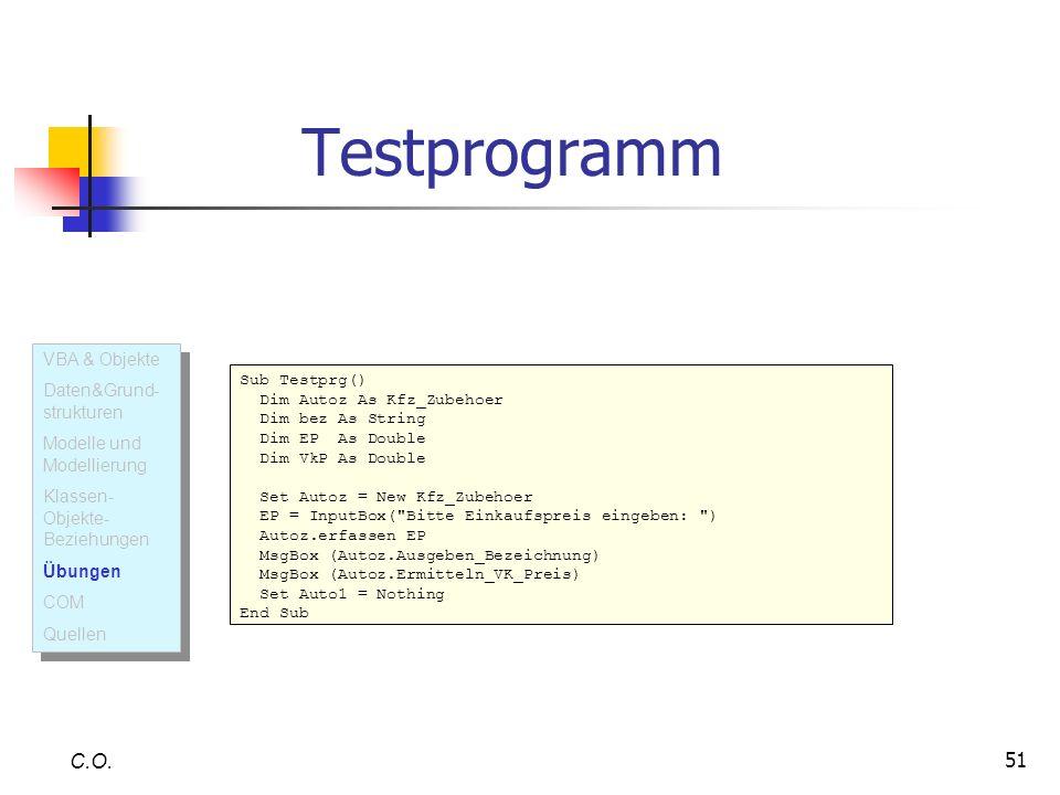 Testprogramm C.O. VBA & Objekte Daten&Grund-strukturen