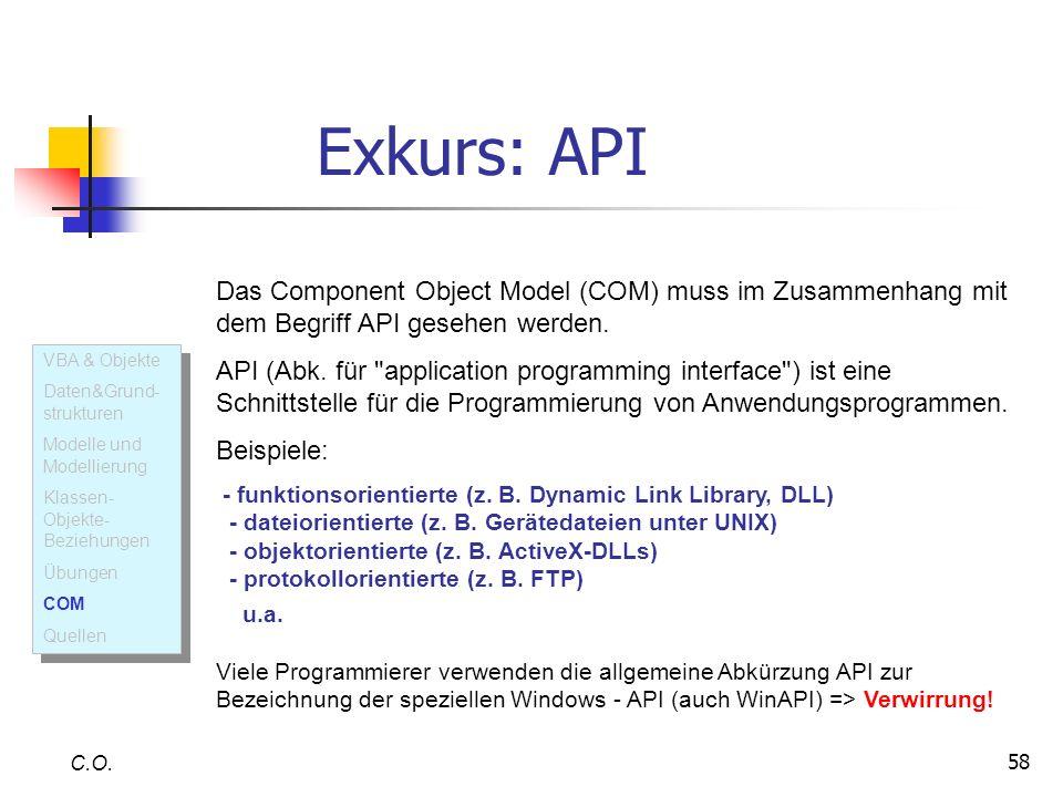 Exkurs: API Das Component Object Model (COM) muss im Zusammenhang mit dem Begriff API gesehen werden.