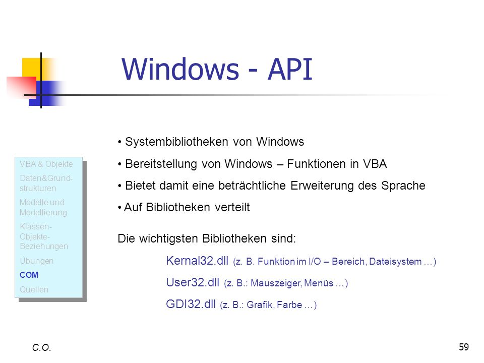Windows - API Systembibliotheken von Windows