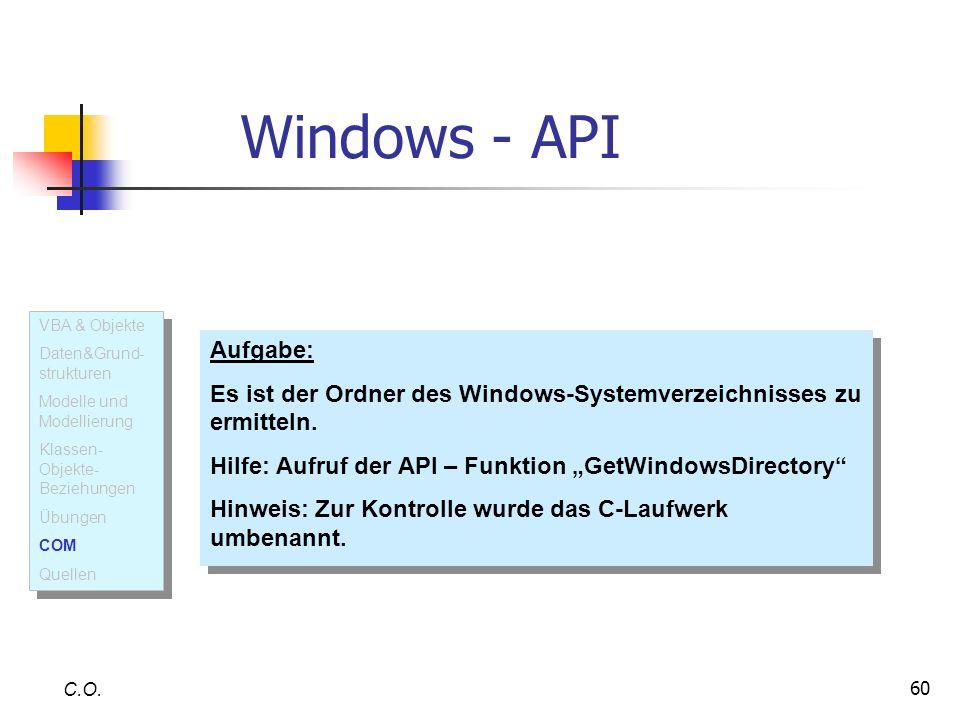 Windows - API VBA & Objekte. Daten&Grund-strukturen. Modelle und Modellierung. Klassen-Objekte- Beziehungen.