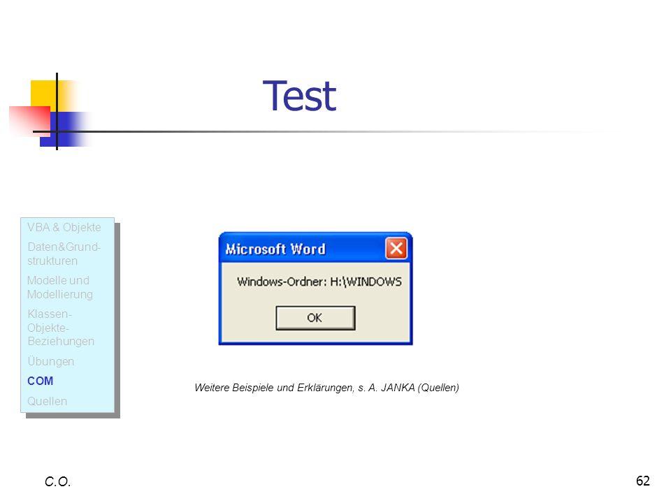 Test C.O. VBA & Objekte Daten&Grund-strukturen