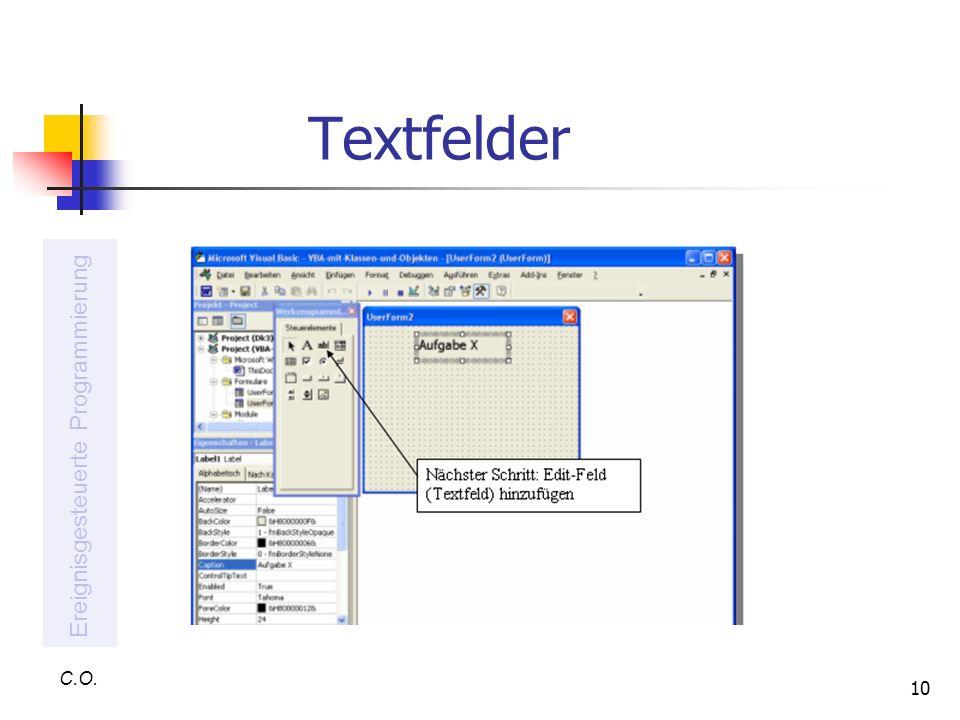 Textfelder Ereignisgesteuerte Programmierung C.O.