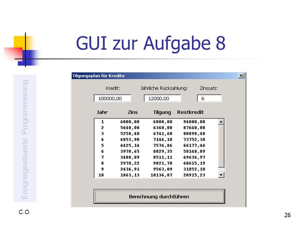 GUI zur Aufgabe 8 Ereignisgesteuerte Programmierung C.O.