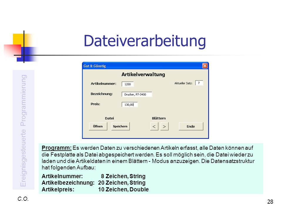 Dateiverarbeitung Ereignisgesteuerte Programmierung
