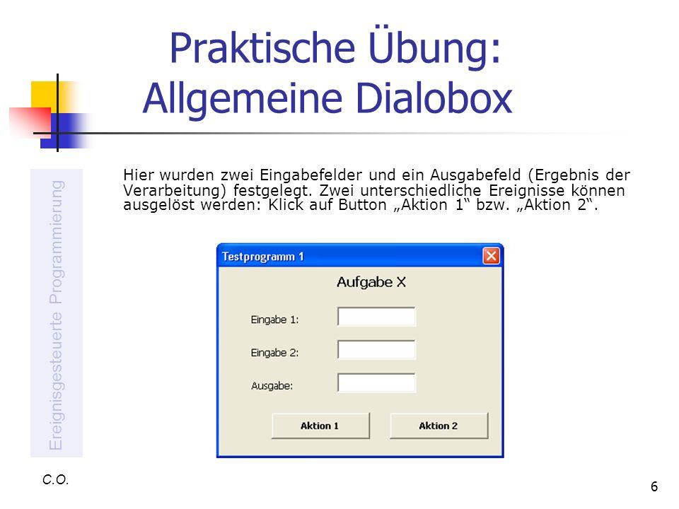 Praktische Übung: Allgemeine Dialobox