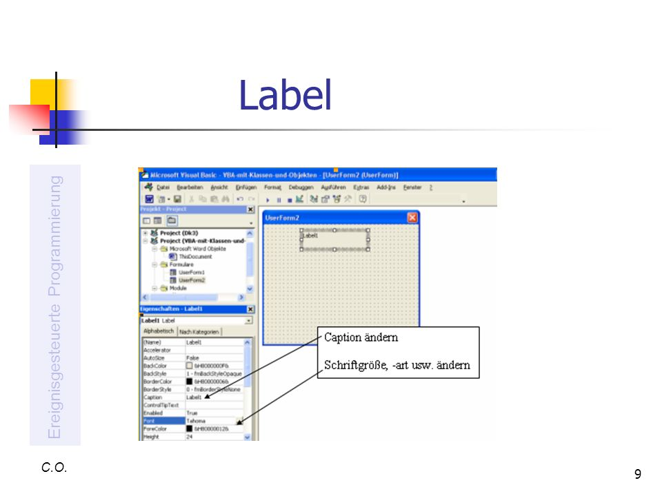 Label Ereignisgesteuerte Programmierung C.O.