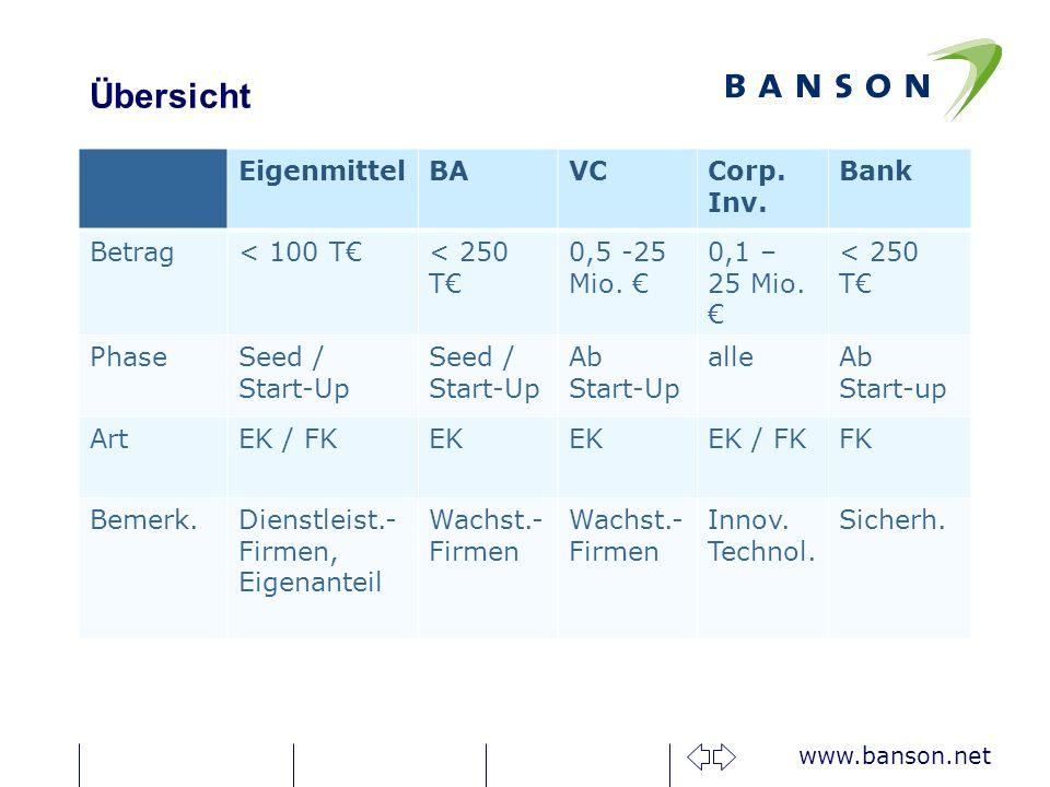Übersicht Eigenmittel BA VC Corp. Inv. Bank Betrag < 100 T€