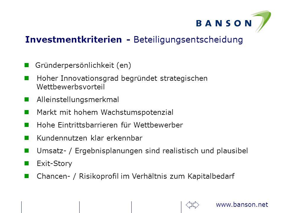 Investmentkriterien - Beteiligungsentscheidung