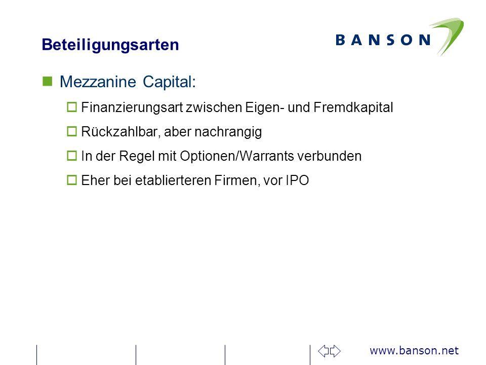 Beteiligungsarten Mezzanine Capital: