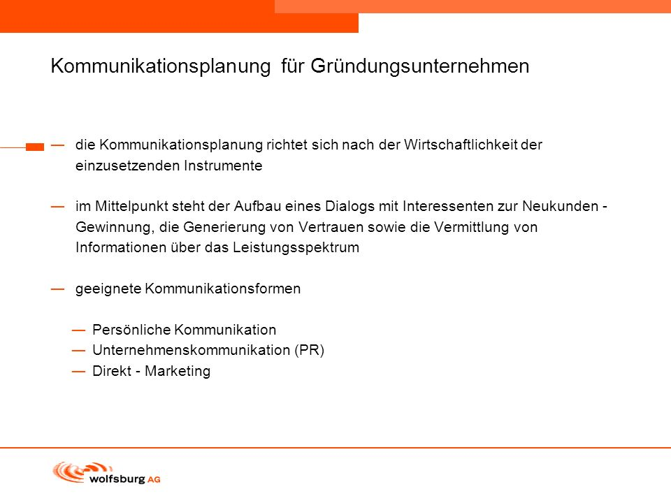 Kommunikationsplanung für Gründungsunternehmen
