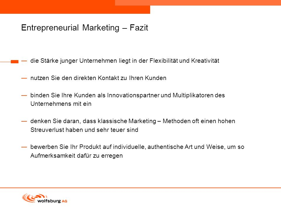Entrepreneurial Marketing – Fazit