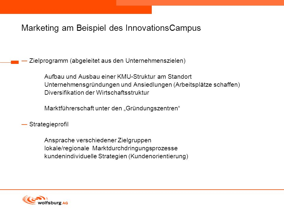 Marketing am Beispiel des InnovationsCampus