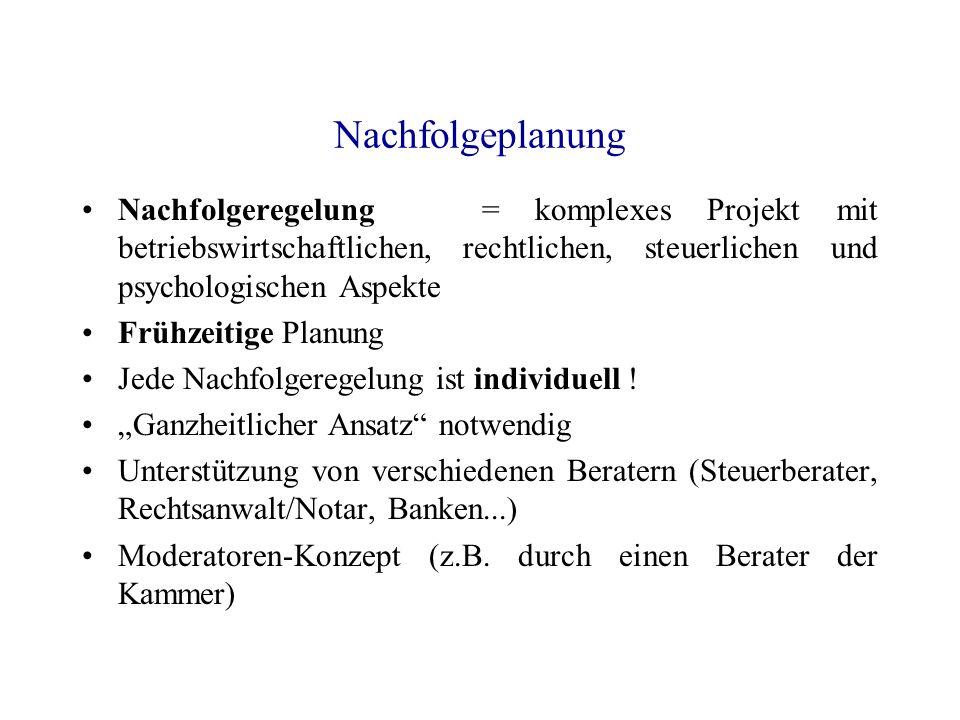 Nachfolgeplanung Nachfolgeregelung = komplexes Projekt mit betriebswirtschaftlichen, rechtlichen, steuerlichen und psychologischen Aspekte.