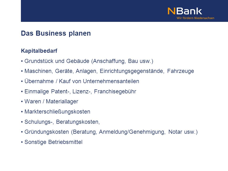 Das Business planen Kapitalbedarf