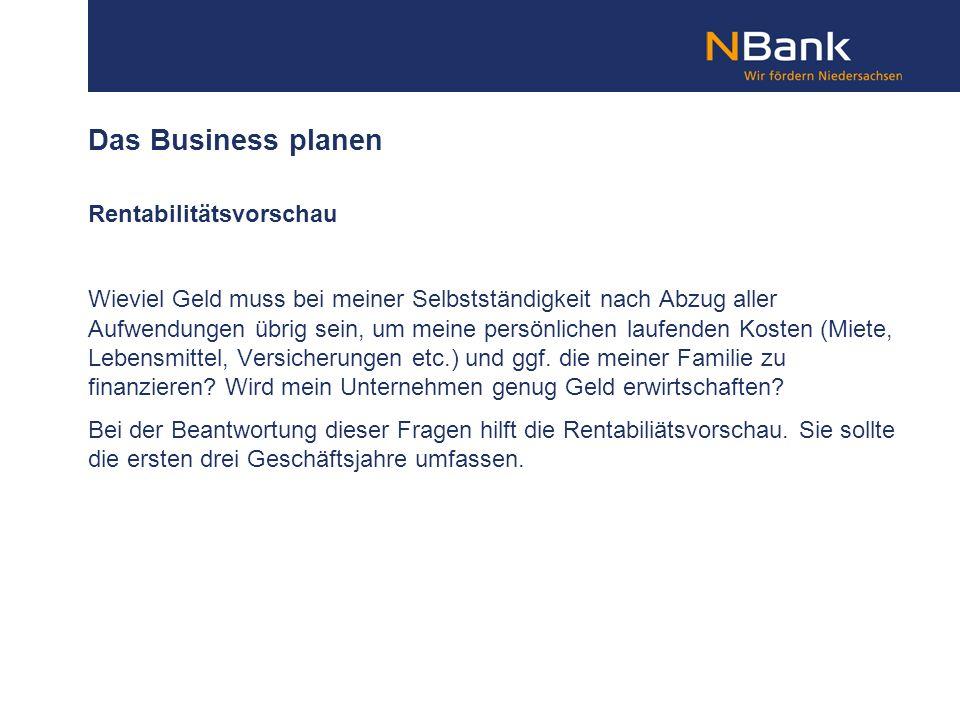 Das Business planen Rentabilitätsvorschau