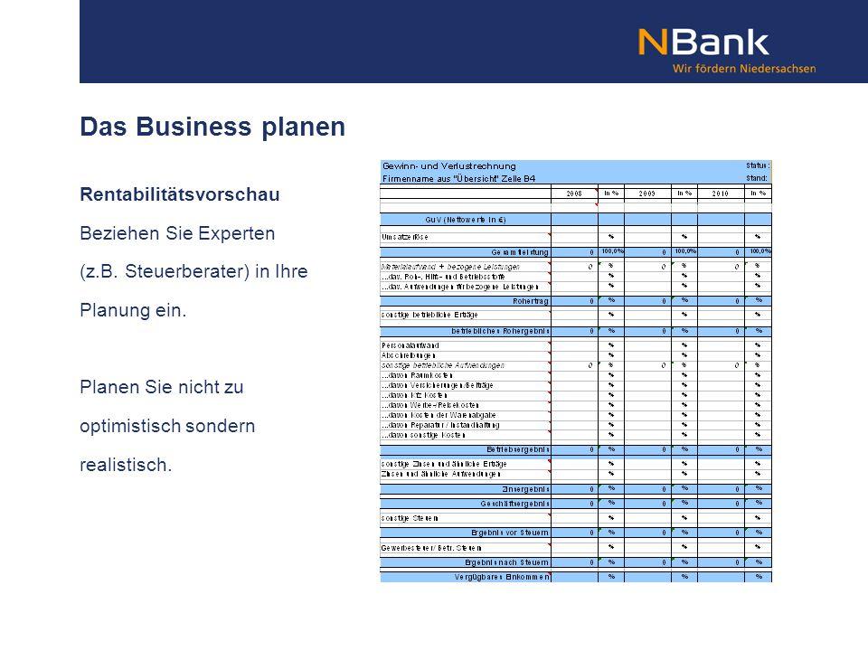 Das Business planen Rentabilitätsvorschau Beziehen Sie Experten
