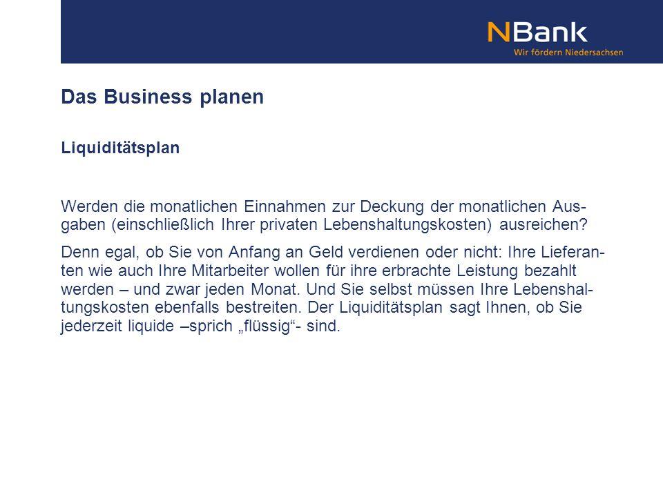 Das Business planen Liquiditätsplan