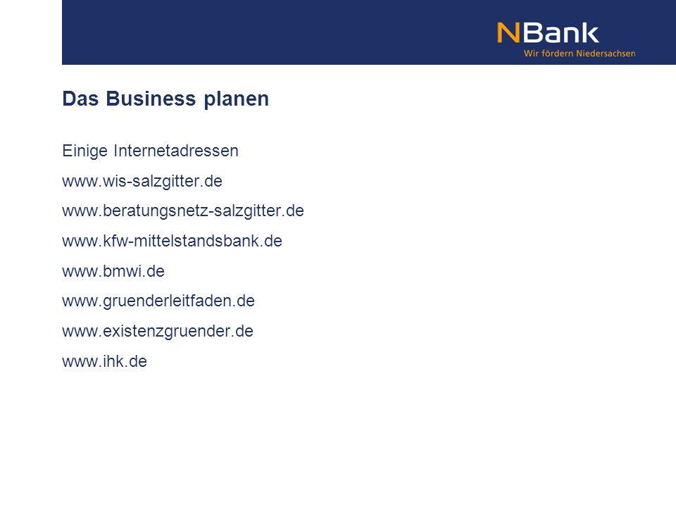 Das Business planen Einige Internetadressen www.wis-salzgitter.de