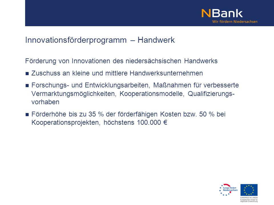 Innovationsförderprogramm – Handwerk